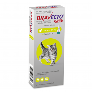 BRAVECTO  Plus Flea, Tick & Worm Spot On Treatment For Cats SMALL