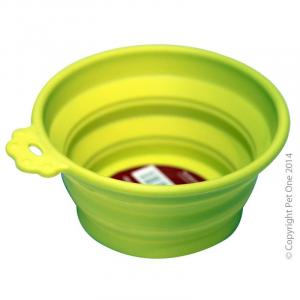 Pet One Pet One Silicone Round Travel Bowl M 760ml Lime Green