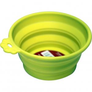 Pet One Pet One Silicone Round Travel Bowl S 370ml Lime Green