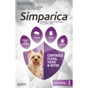 SIMPARICA Simparica Chewable Tablets for Dogs 2.5-5kg
