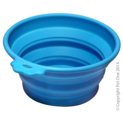 Pet One Pet One Silicone Round Travel Bowl M 760ml Blue thumbnail