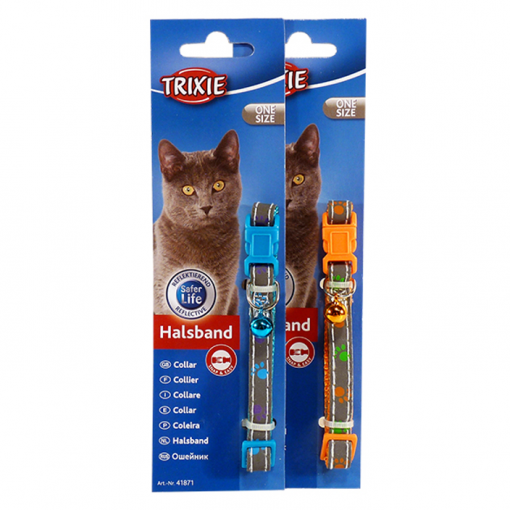 Trixie Trixie Nylon Paws Cat Collar - Assorted Colours thumbnail