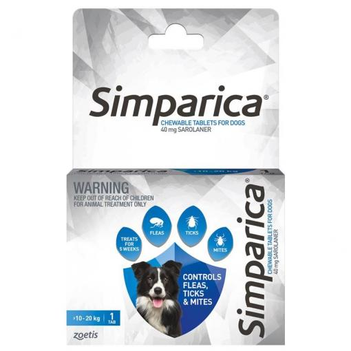 SIMPARICA Simparica Chewable Tablets for Dogs 10-20kg thumbnail