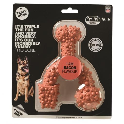 Sporn Tasty Bone Chew Toy Trio Bacon thumbnail