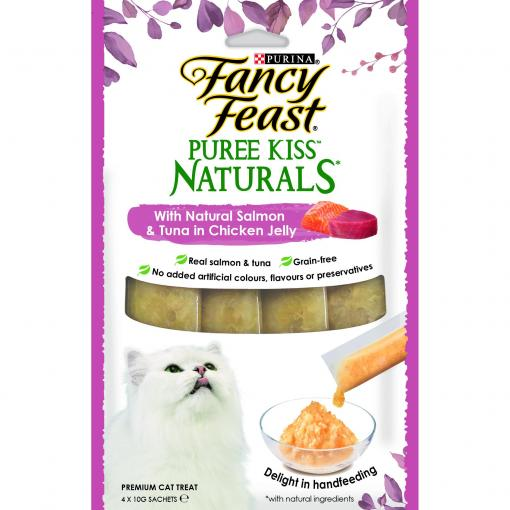 Fancy Feast Fancy Feast Puree Kiss Naturals Salmon and Tuna in Chicken Jelly 4x10g thumbnail