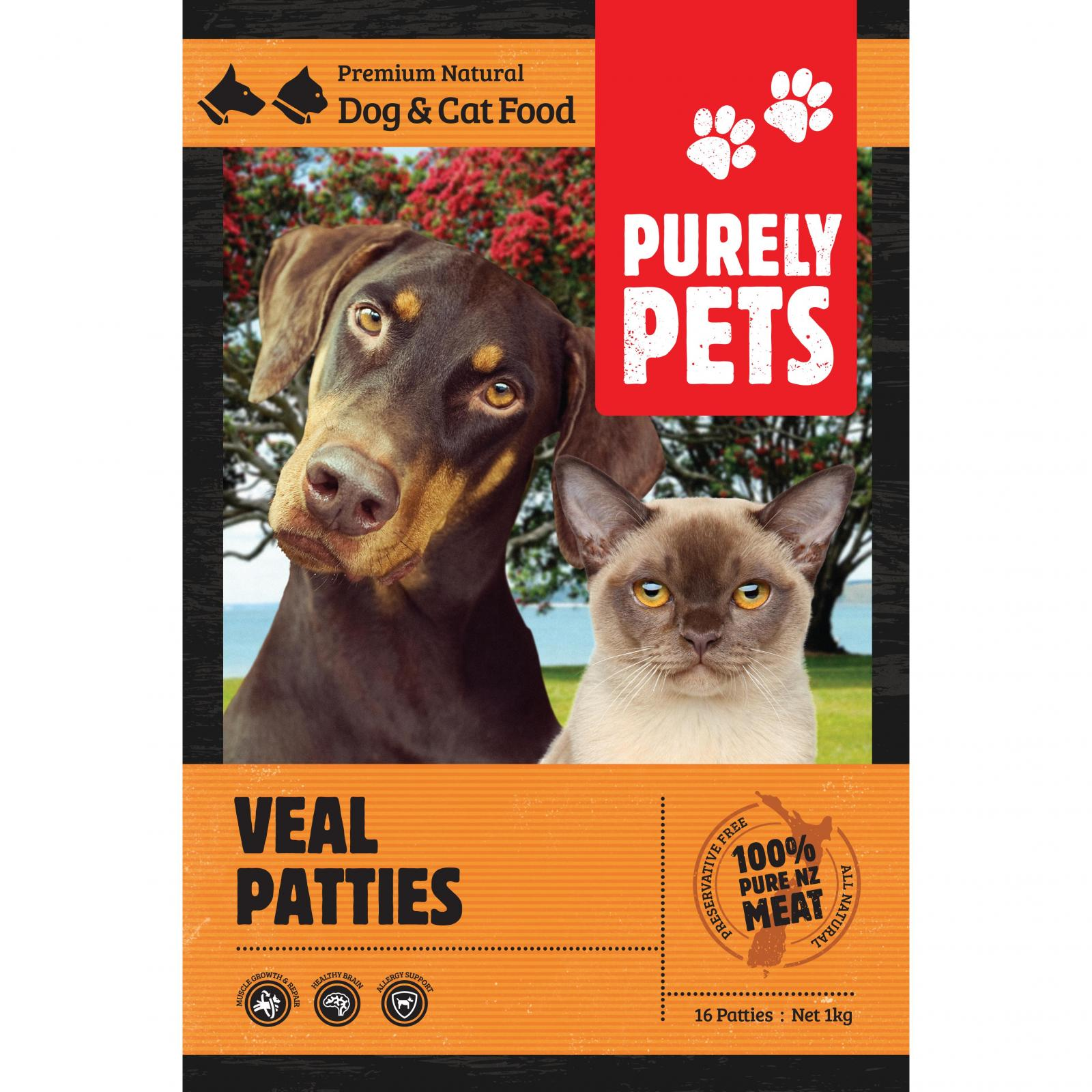 PURELY PETS Purely Pets Frozen Veal Patties 1Kg