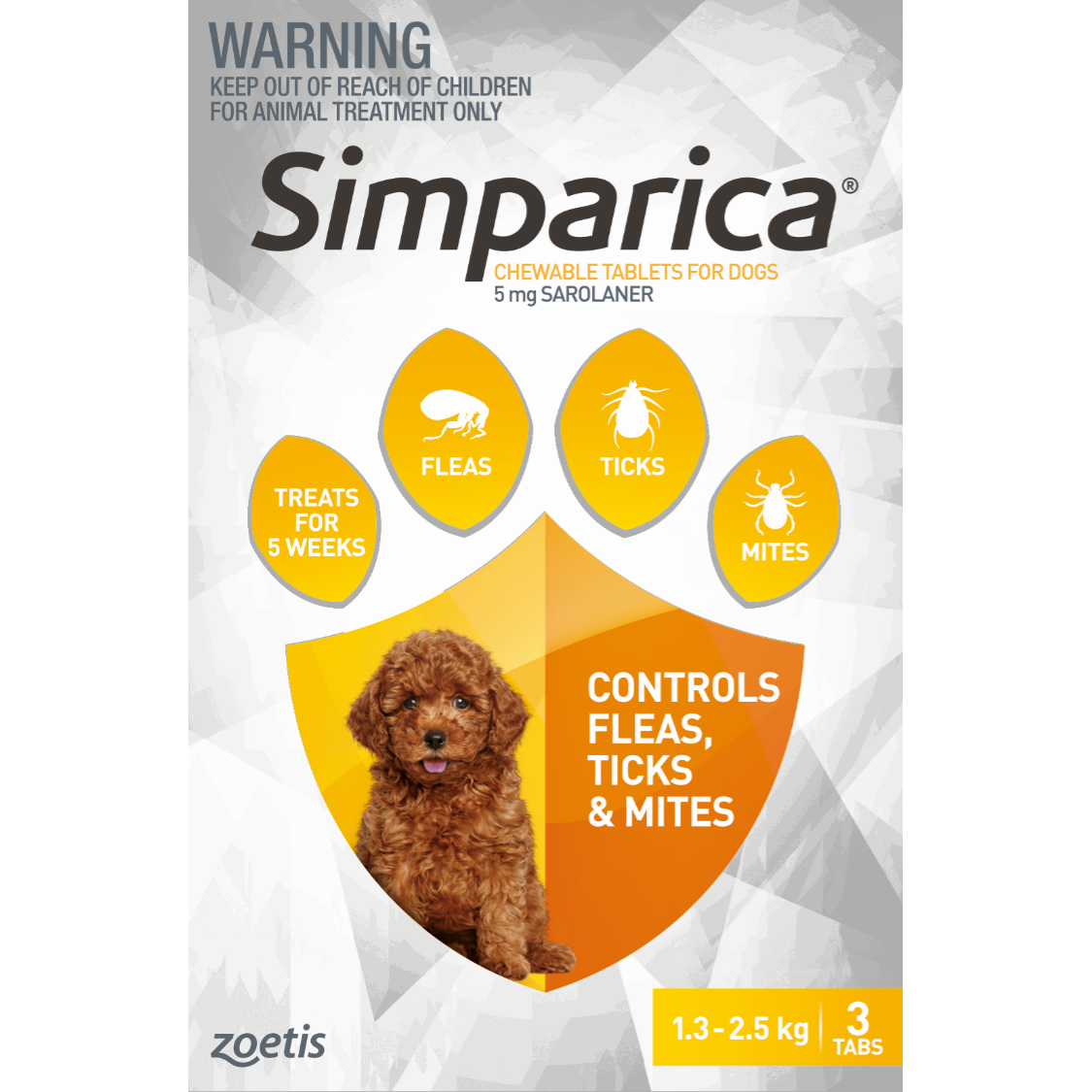 SIMPARICA Simparica Chewable Tablets for Dogs 1.3-2.5kg