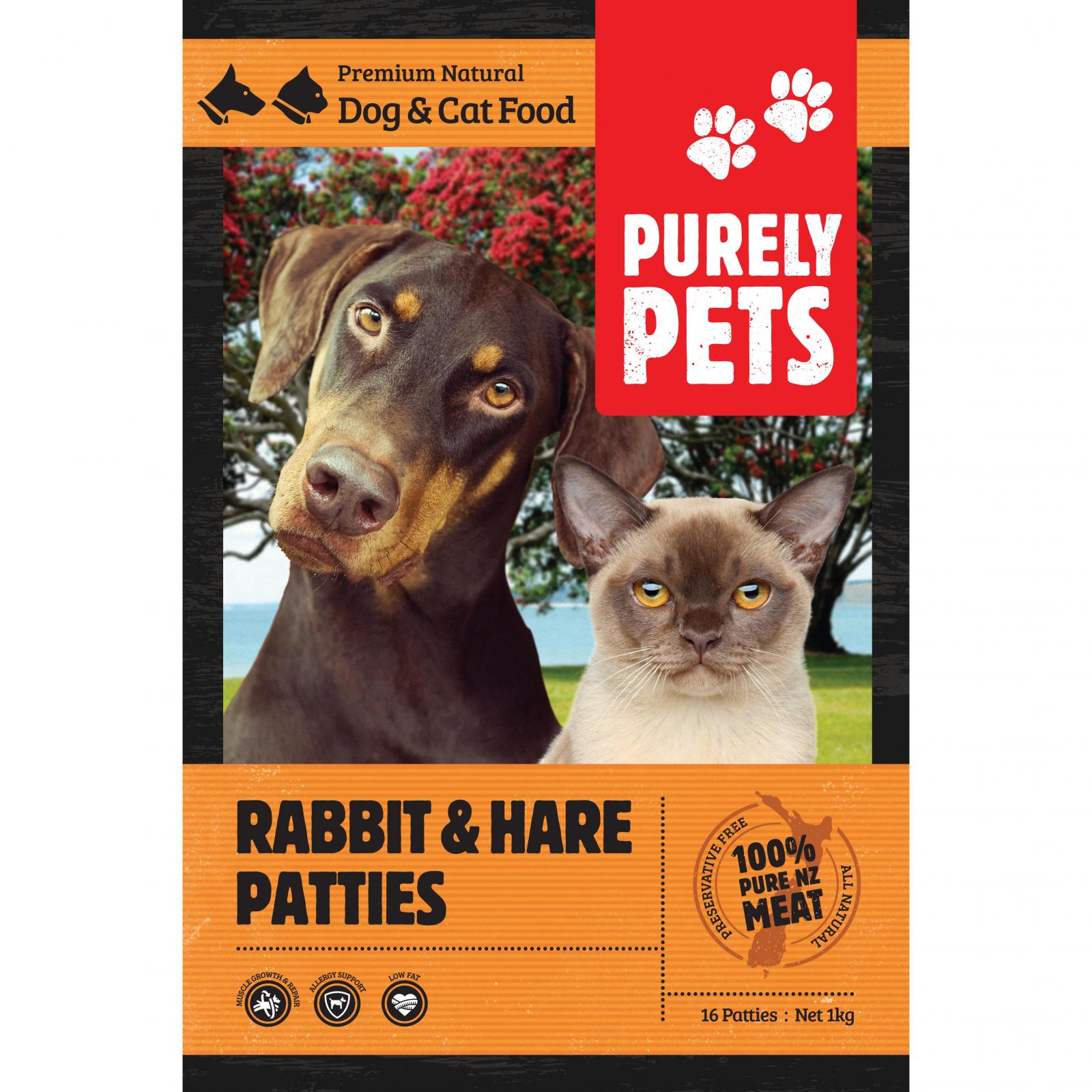 PURELY PETS Purely Pets Frozen Rabbit/Hare Patties